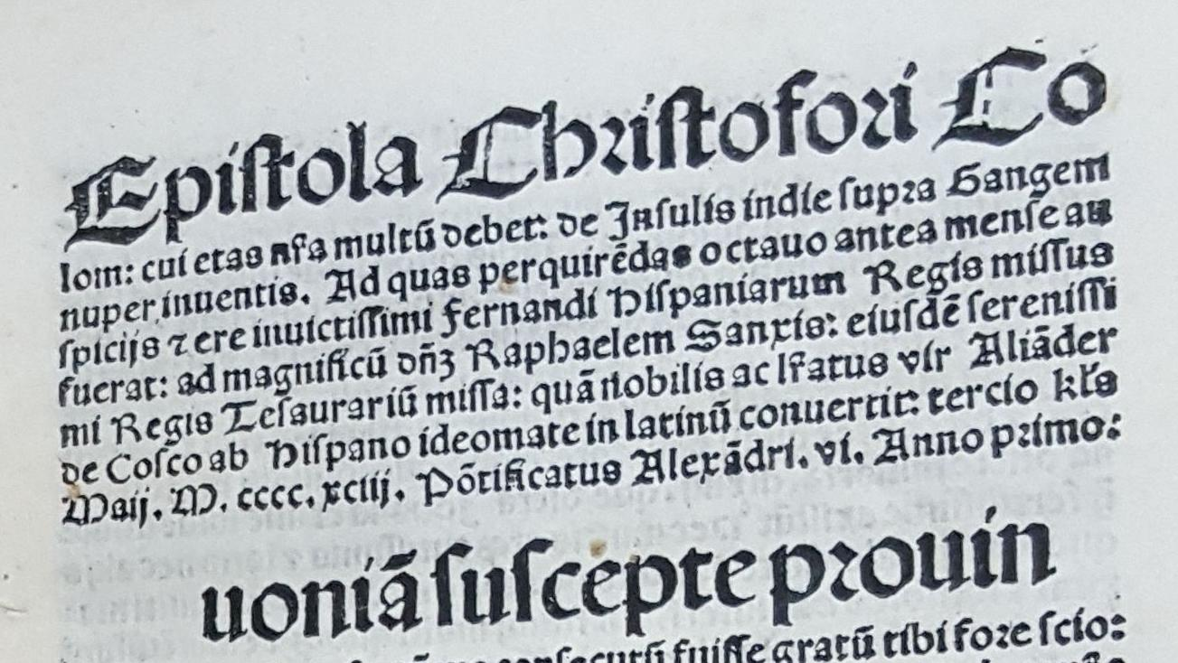 Göttingen Copy of the 1493 Columbus Letter